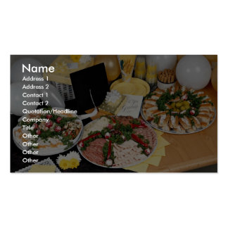 Delicious Three deli platters with balloons Business Card Templates