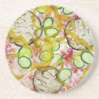Delicious vegetarian pizza drink coaster
