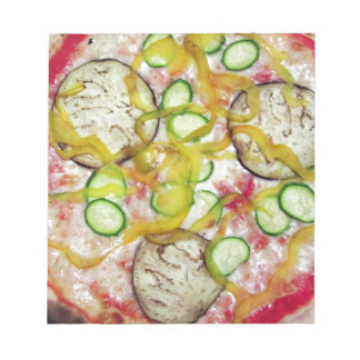 Delicious vegetarian pizza notepad