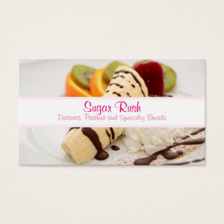 Delicious Whipped Cream and Banana Dessert Business Card