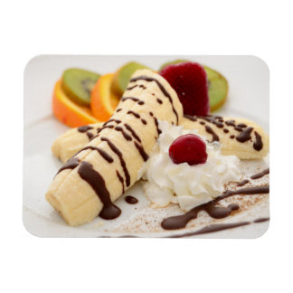 Delicious Whipped Cream and Banana Dessert Rectangular Photo Magnet