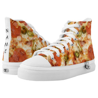 delicious whole pizza pepperoni jalapeno photo High-Top sneakers