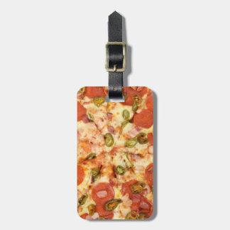 delicious whole pizza pepperoni jalapeno photo luggage tag