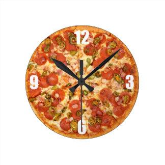 delicious whole pizza pepperoni jalapeno photo round clock