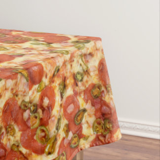 delicious whole pizza pepperoni jalapeno photo tablecloth