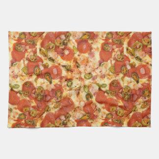 delicious whole pizza pepperoni jalapeno photo towel