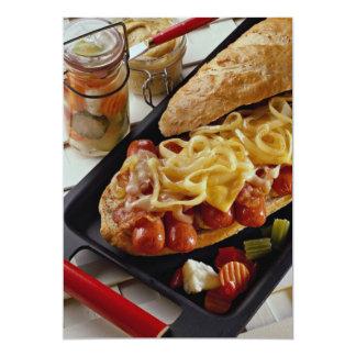 Delicious Wieners, onions and bacon on a sub bun 5x7 Paper Invitation Card
