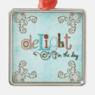Delight in the day floral metal ornament