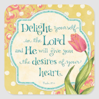 Delight in the Lord Bible Verse Square Stickers