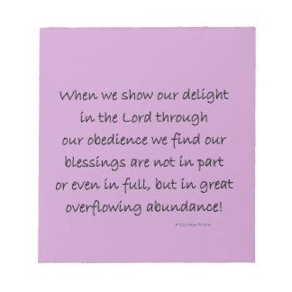 delight in the Lord Memo Notepads