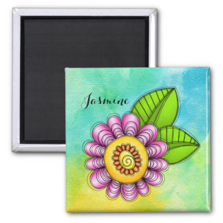 Delight Watercolor Doodle Flower Magnet