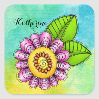 Delight Watercolor Doodle Flower Sticker