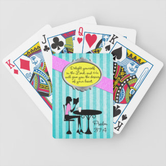 Delight Yourself in the Lord Psalm 37:4 Bible Teal Bicycle Playing Cards