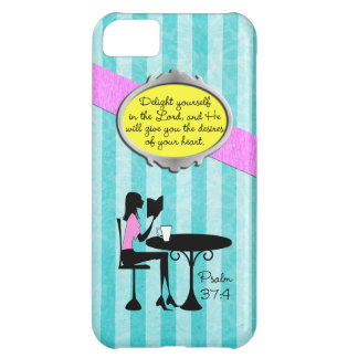 Delight Yourself in the Lord Psalm 37:4 Bible Teal Case For iPhone 5C