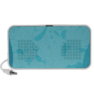 Delightful aqua blue floral speaker