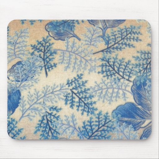Delightful Blue Leaves Mouse Pads