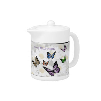 Delightful Butterflies & Daisies Porcelain Teapot