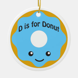 Delightful D is for Donut Double-Sided Ceramic Round Christmas Ornament