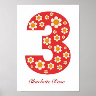 Delightful Daisies 3rd Birthday Poster