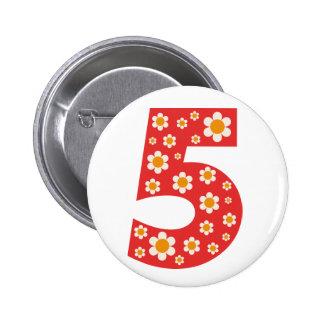 Delightful Daisies 5th Birthday Button