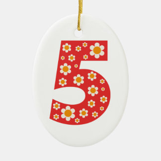 Delightful Daisies Number 5 Oval Ornament
