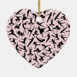 Delightful Dancers Pink Heart Ornament