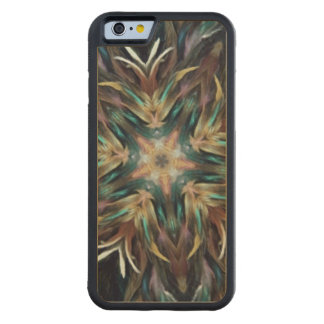 Delightful Delicate Feather Mandala Kaleidoscope Carved Maple iPhone 6 Bumper Case