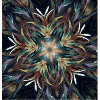 Delightful Delicate Feather Mandala Kaleidoscope Cutout