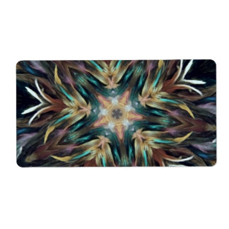 Delightful Delicate Feather Mandala Kaleidoscope Label