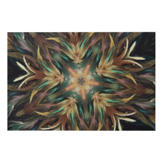 Delightful Delicate Feather Mandala Kaleidoscope Wood Wall Art