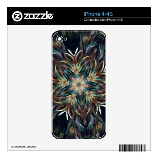 Delightful Delicate Feather Mandala Decals For The iPhone 4