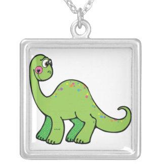 Delightful Dinosaur Square Pendant Necklace