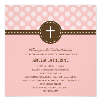 "Delightful Dots Baptism/Christening Invitation 5.25"" Square Invitation Card"