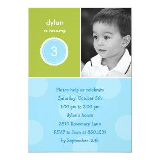 Delightful Dots Photo Birthday Invitation (Turquoi Custom Invitations