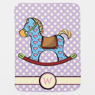 Delightful Hearts Rocking Horse Baby Blanket