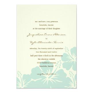Delightful Hibiscus Wedding Invitations (Blue)