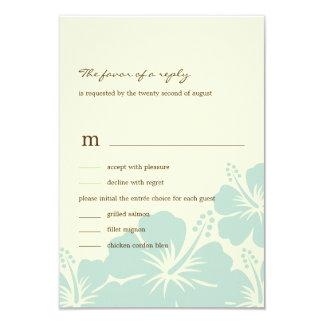 "Delightful Hibiscus Wedding RSVP Cards (Blue) 3.5"" X 5"" Invitation Card"