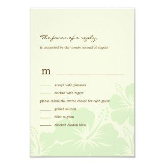 Delightful Hibiscus Wedding RSVP Cards (Green)