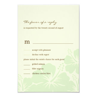 Delightful Hibiscus Wedding RSVP Cards (Green) Personalized Invitations
