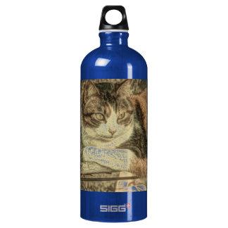 delightful, lovely calico cat design aluminum water bottle