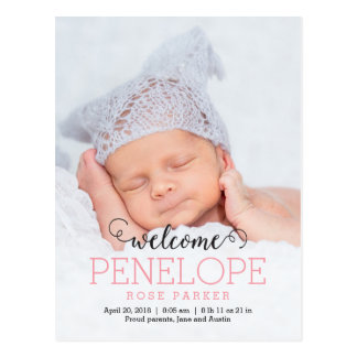 DELIGHTFUL Modern Birth Announcement Postcard