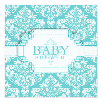 Delightful Robins Egg Blue Damask Card