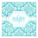 Delightful Robins Egg Blue Damask Invites