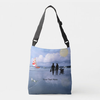 Delightful Silhouettes of Mom, Dad, Son & Daughter Crossbody Bag