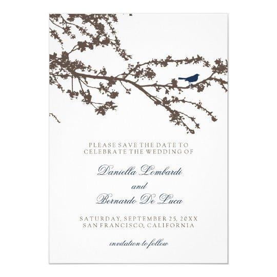 Delightful Tree Top Bird Save The Date Card