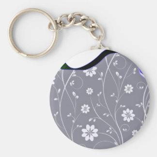 Delightful White floral and Bluish Ribbon Key Chains