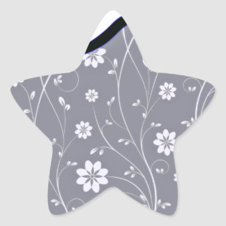 Delightful White floral and Bluish Ribbon Star Stickers