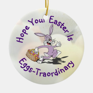 Delightful - Yippy! It's Easter Egg Hunting Season Double-Sided Ceramic Round Christmas Ornament