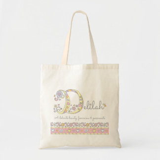 Delilah baby girls name meaning monogram hearts tote bag