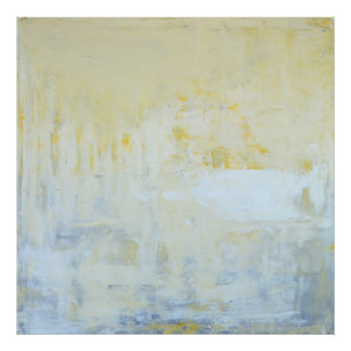 'Delivered' Grey and Yellow Abstract Art Poster